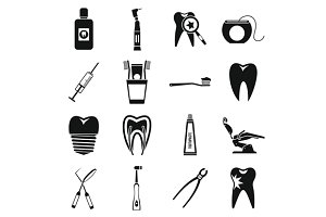 Dental care icons set, simple style
