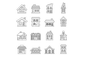 House icons set, outline style