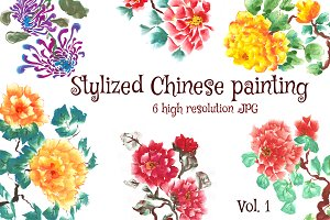 Stylized Chinese painting set.1