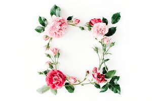 Floral frame with roses