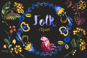Watercolor Folk Clipart Set