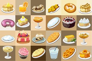 Great set of desserts, 36 icons
