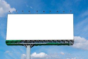 Blank billboard on beautiful sky