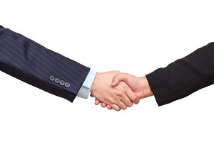 Hand shake between a businessman