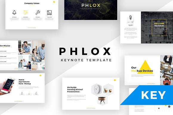 phlox minimal keynote template presentation templates creative market. Black Bedroom Furniture Sets. Home Design Ideas