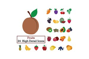 Set of 24 Fruits Icons
