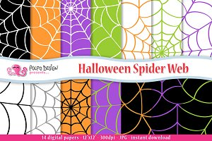 Halloween Spiderweb Digital Paper