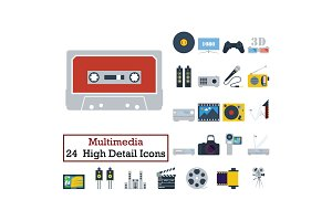 Set of 24 Multimedia Icons
