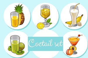 Set of 8 cocktails with fruits
