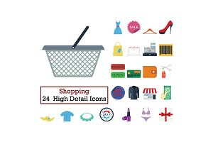Set of 24 Shopping icons