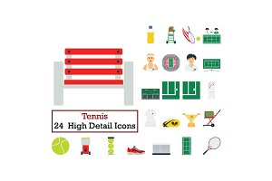 Set of 24 Tennis Icons