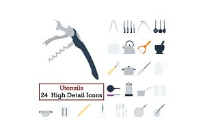 Set of 24 Utensils Icons