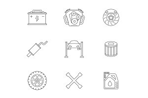 Auto service linear icons