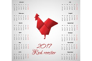 2017 calendar. Origami red rooster