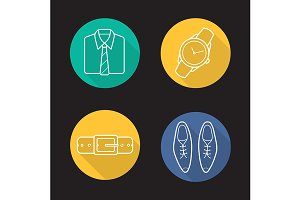 Men's clothing. 4 icons. Vector