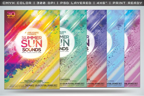 Summer Sun Sounds Flyer Template in Flyer Templates - product preview 1