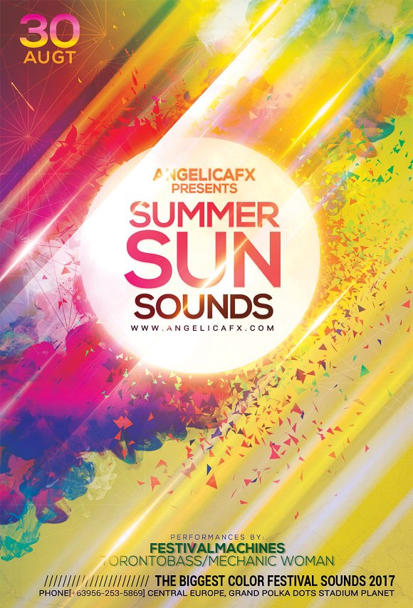 Summer Sun Sounds Flyer Template in Flyer Templates - product preview 2
