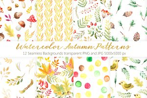 Watercolor Autumn Patterns Vol.2
