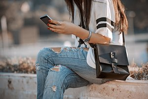 girl reading a message on your phone