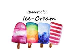 Hand drawn watercolor Ice Cream's