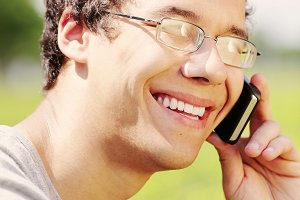 Guy talking on mobile phone