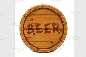 round wooden barrel