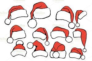 Set doodle Christmas hats