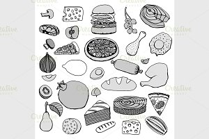 Monochrome vector hand drawn food