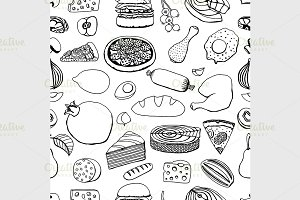 Colorful vector hand drawn food