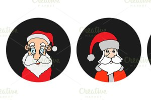 Santa Claus colorful round icons set