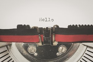 "Word ""hello"" written on a vintage typewriter"