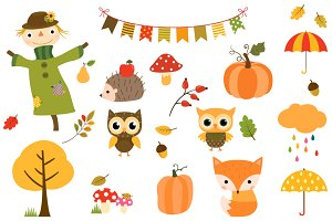 Autumn clip art set, Fall Scarecrow