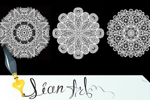 4 Abstract circle lace patterns