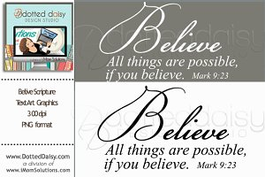 Believe Scripture Text Art