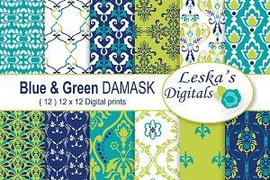 Lime Green & Blue Digital Paper