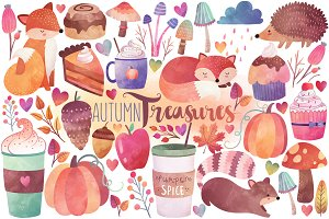 Watercolor Autumn Clipart Bundle