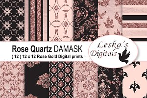 Black and Rose Gold Digital Paper