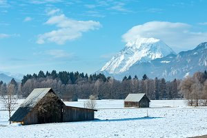 Winter mountain country landscape