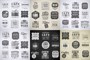 Bakery, coffee labels set
