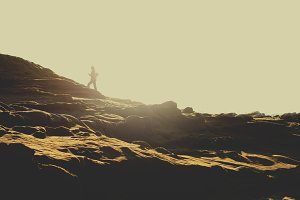 Coastal Rocks with Woman