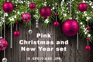 Pink Christmas and New Year set