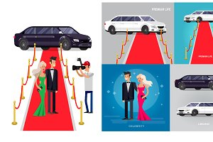 Celebrities on a red carpet