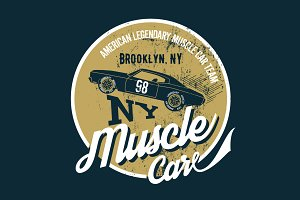 Vector muscle car tee print
