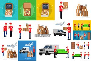 Funny Delivery characters set