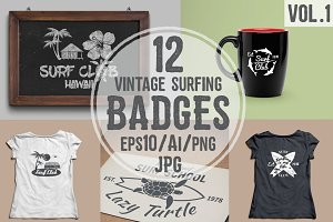 Vintage Surfing Badges And Logos
