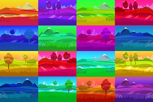 cartoon desert landscape set