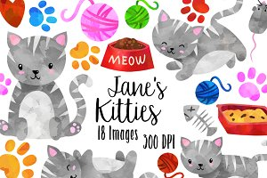 Watercolor Grey Tabby Cats Clipart