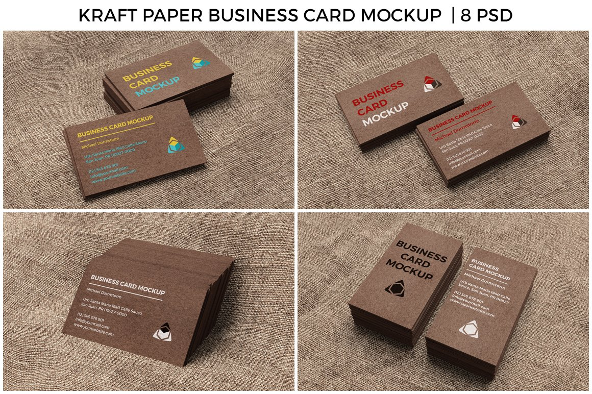 Kraft paper business card mockup product mockups creative market reheart Gallery
