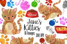 Watercolor Striped Cats Clipart