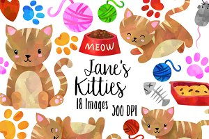 Watercolor Striped Cats Clipart